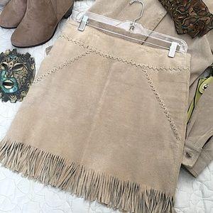 "Dresses & Skirts - ""Montana"" Tan Suede Fringe Skirt 100% Leather 7Jr"